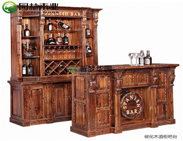 湖北碳化木酒柜吧臺